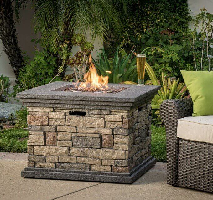 Outdoor propane fire pit by Crawford