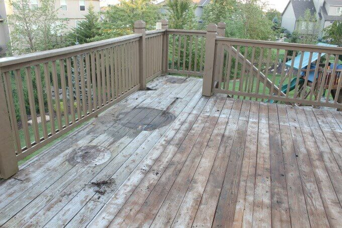 Deck with old cedar boards.