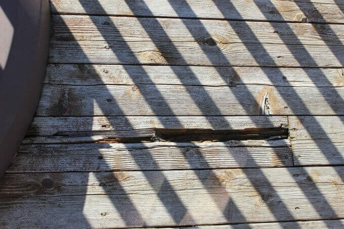 Updating an old deck with rotten boards with composite decking