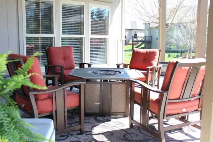Propane fire pit under deck to add ambiance to outdoor space.