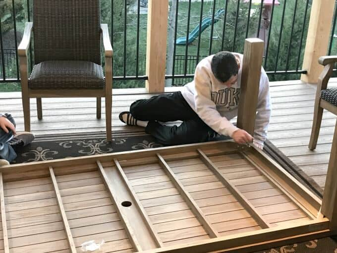 Assembling the Hilo Teak table from Costco