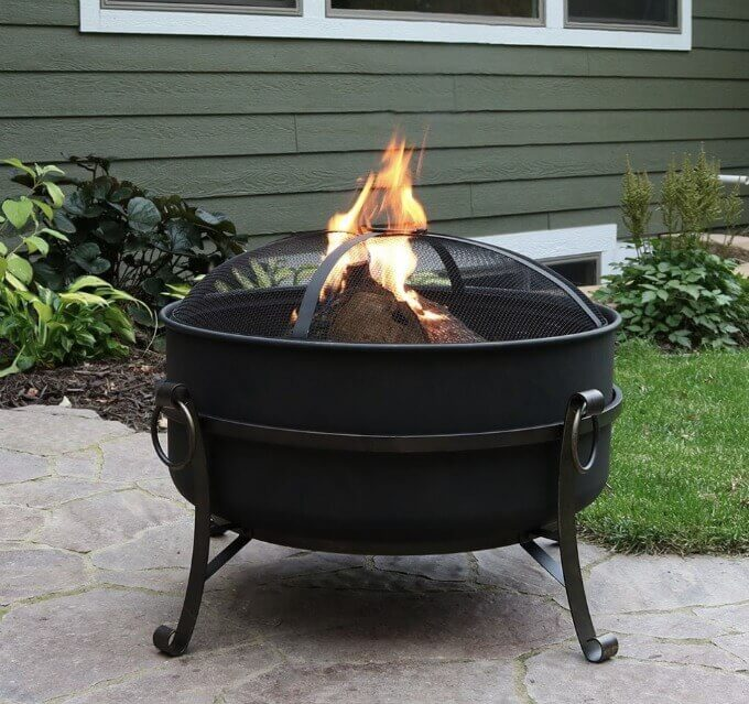 Steel Cauldron Fire Pit for outdoor fires in the backyard!