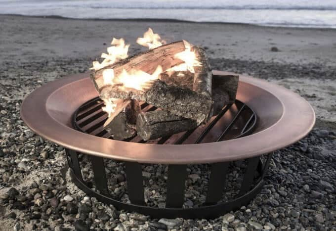 Wood burning fire pit bowl and deck grill