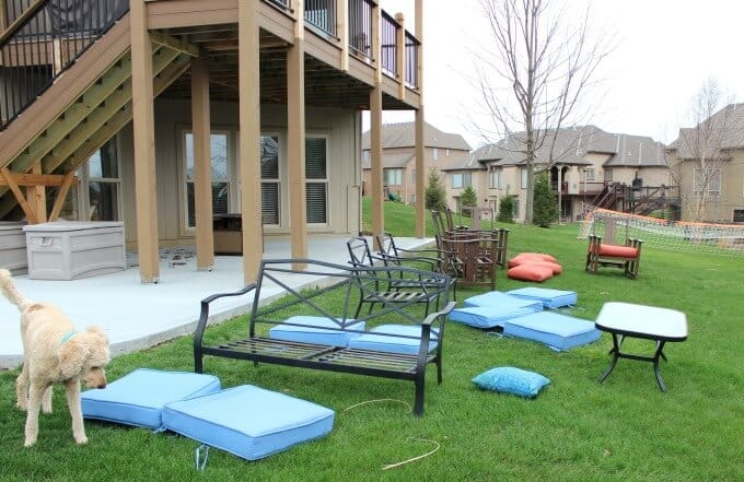 Washing outdoor cushions to freshen up outdoor space