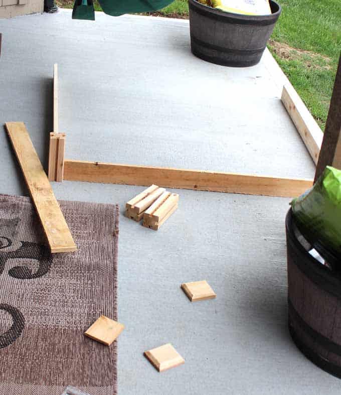 4 x 4 feet garden kit assembly on a patio.