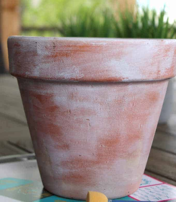 White washed terra cotta pot.