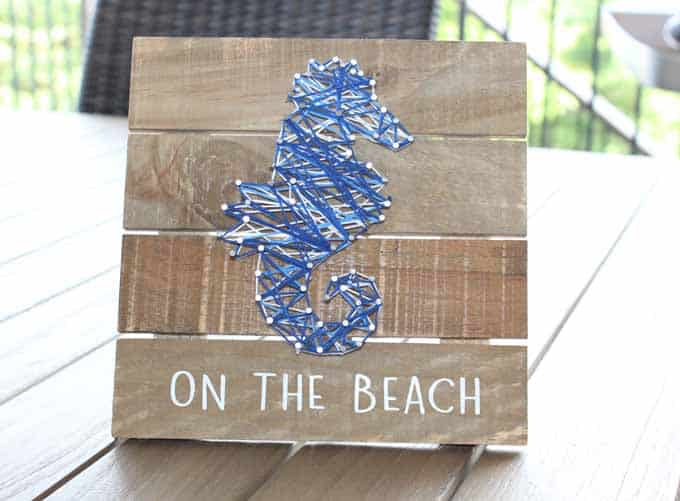 Beach decor using string art.