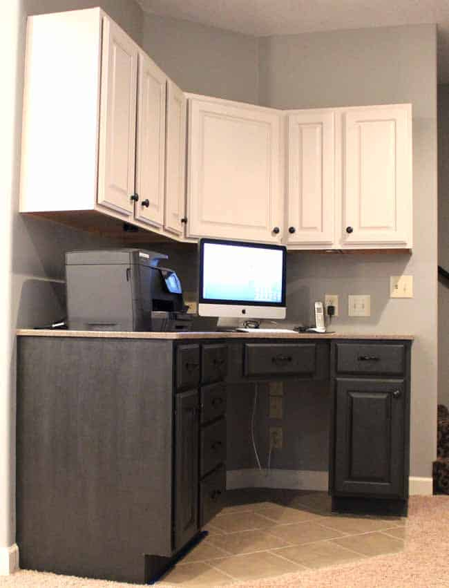 White and Dark gray cabinets painted with chalk paint; Painting cabinets without primer!