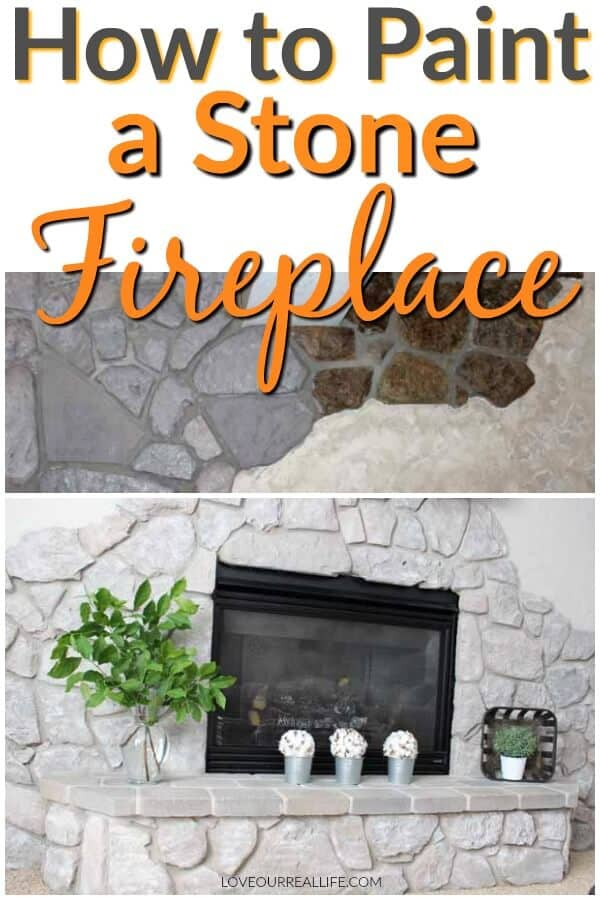 How to paint a stone fireplace before and after images