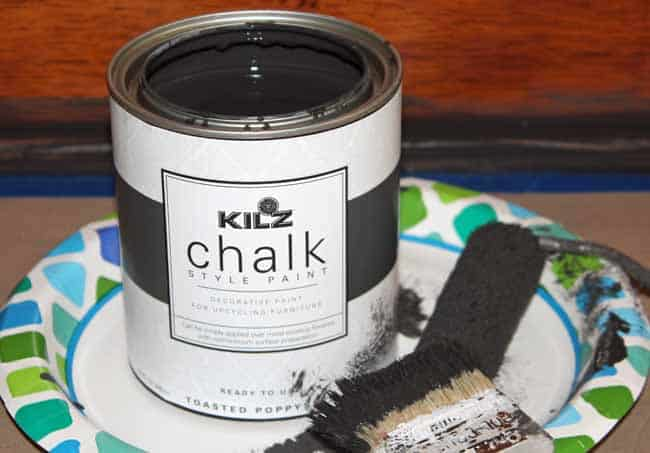 Toasted Poppyseed chalk paint by Kilz for updating cabinets.