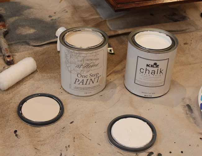 Picking the right white chalk paint for our cabinet makeover.