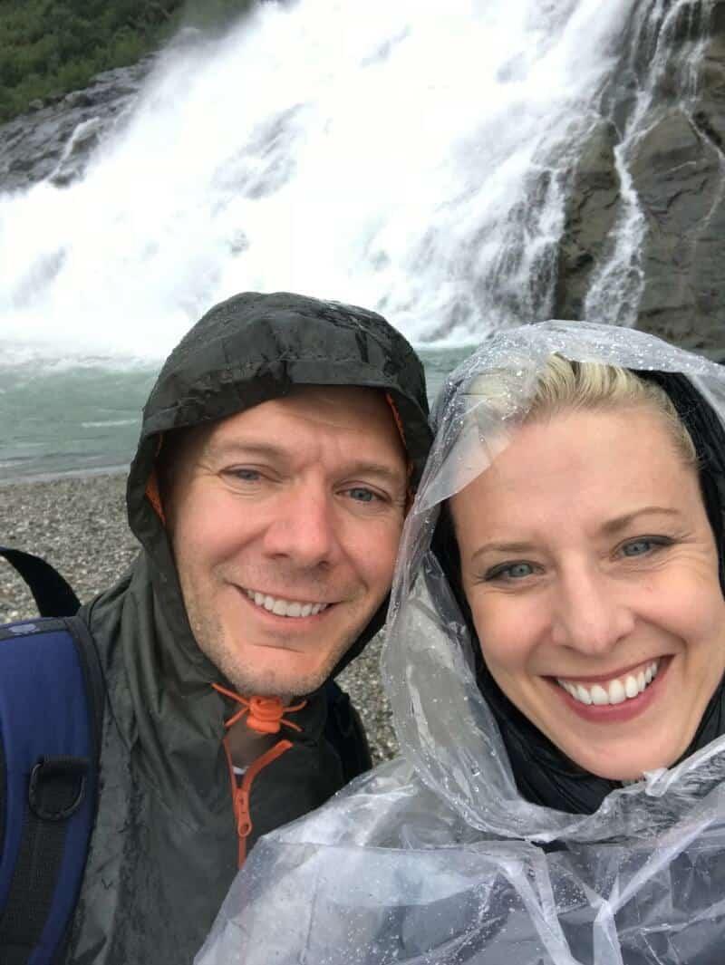 Nugget Falls, Alaska, plastic ponchos on Alaskan hikes