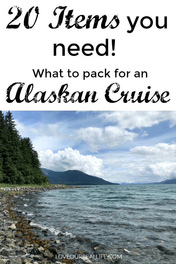 """What to Pack for an Alaskan Cruise"" with image of coastline in Juneau, Alaska"