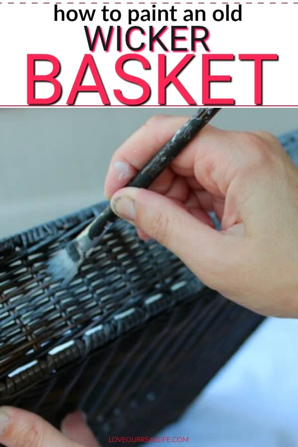 Painting an old wicker basket with wood stain.