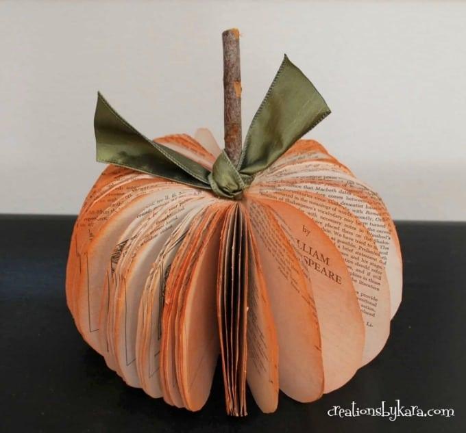 Book page pumpkin fall decor craft