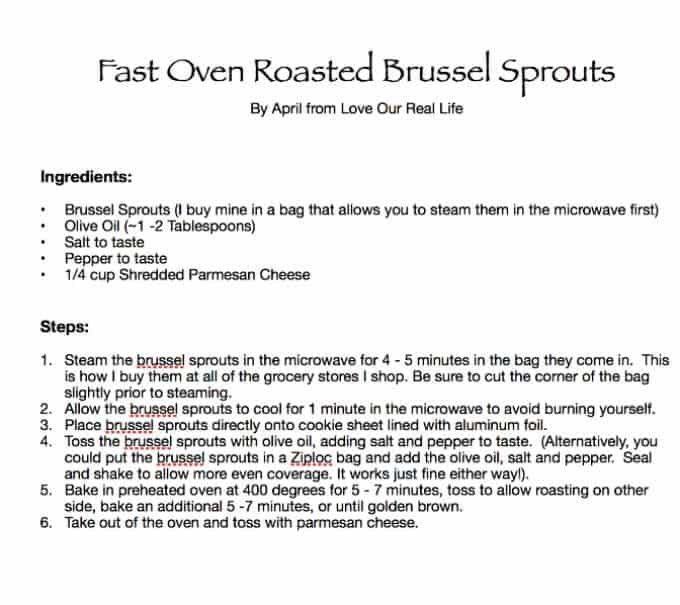 Printable fast oven roasted brussel sprouts recipe