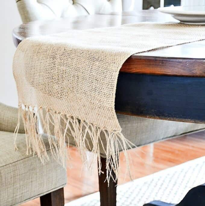 Burlap fringed table runner DIY by Stone Gable