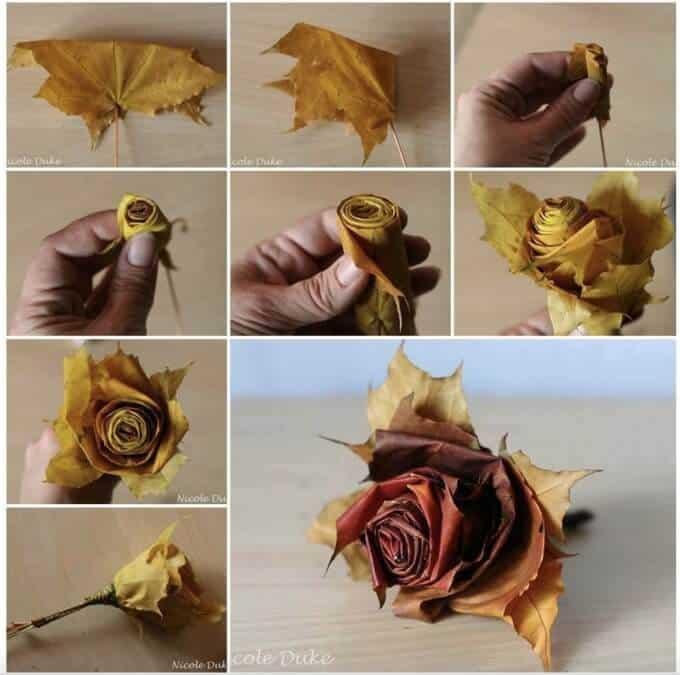 Easy fall craft- Leaf flower tutorial