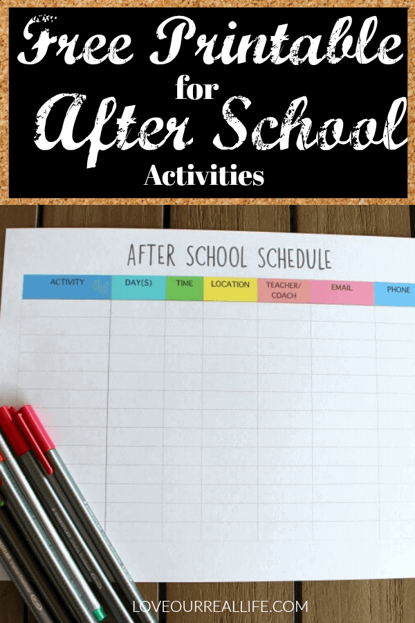Printable for After School Activities
