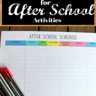 Keep track of all the kids' after school schedules with this FREE printable for after school activities.