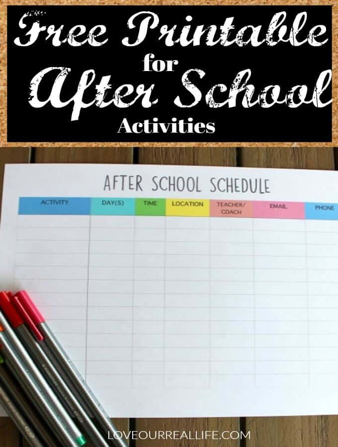 Candid image with regard to after school schedule printable