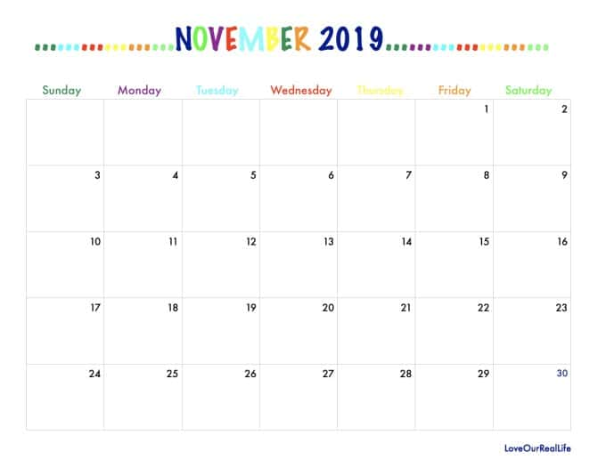November 2019 monthly view calendar