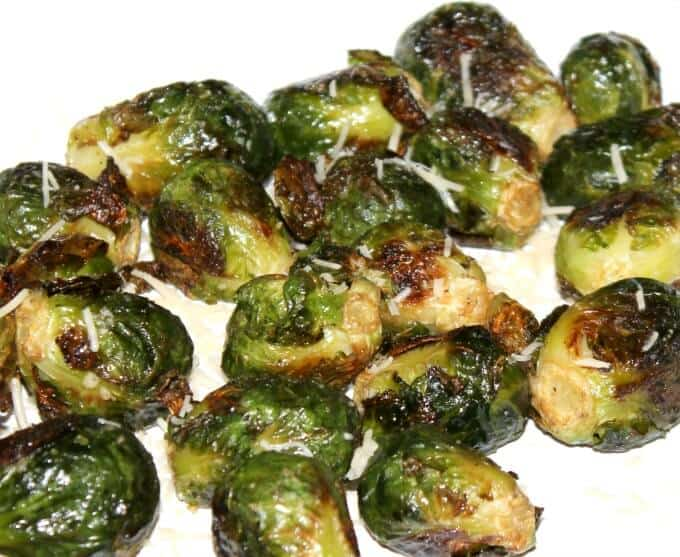 Yummy oven roasted brussel sprouts with parmesan cheese!