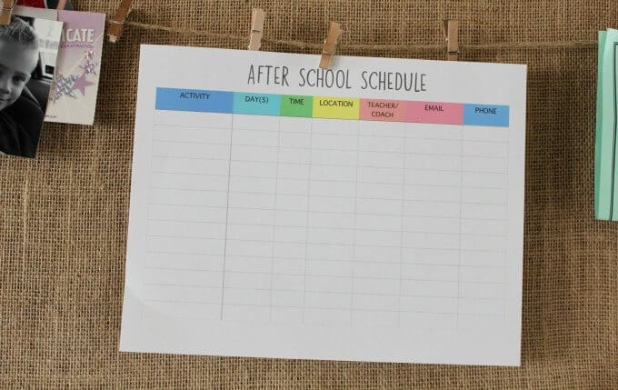 After school schedule posted on burlap command center.