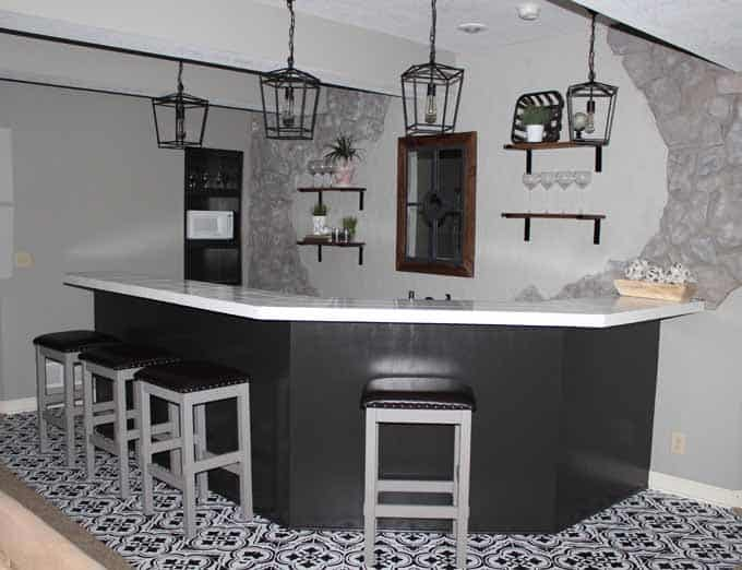 Updating a basement bar area can be done with patience, very little money, and lots of paint.