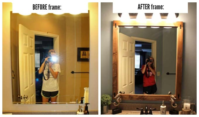A before and after shot of bathroom mirror with DIY frame.