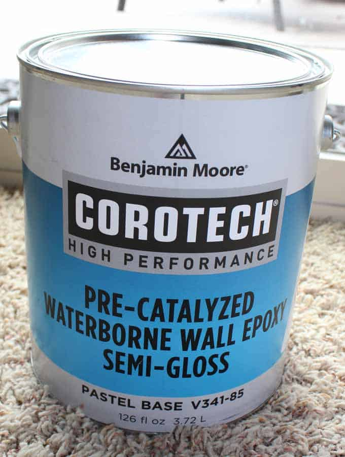 Benjamin Moore Corotech was used to paint our tile countertops