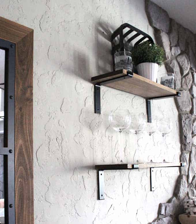 Heavy duty brackets used for industrial black brackets on farmhouse rustic shelves.