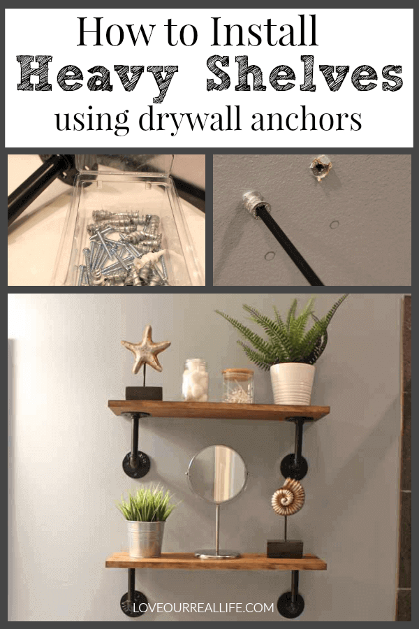 Collage of farmhouse shelves in bathroom and screwing dry wall anchors into wall to hang them.