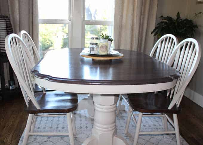 Picture to show how my kitchen table makeover is holding up over time.