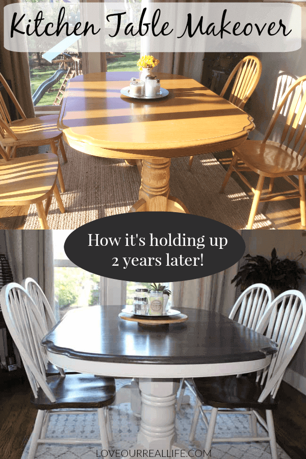 Kitchen table makeover - a before and after image of yellow oak table painted with linen and wood stain.