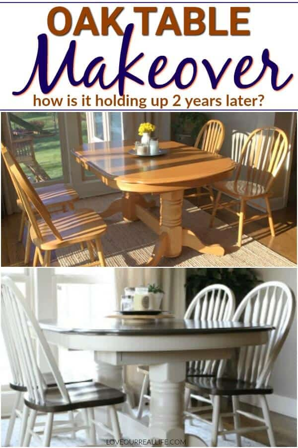 Oak table makeover before and after