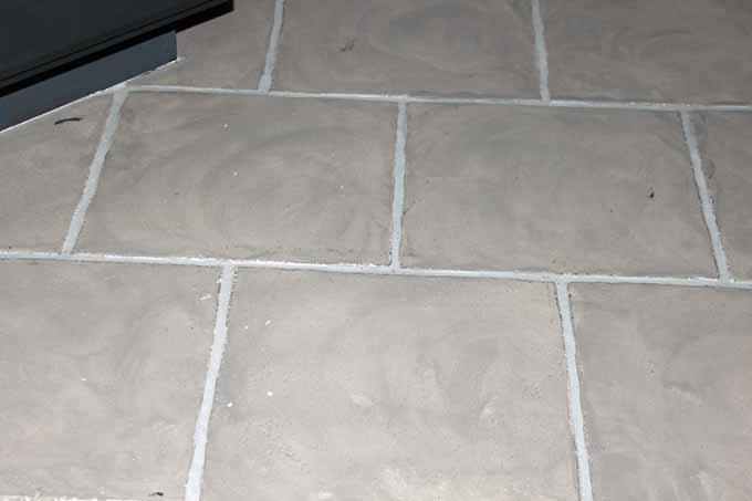 This faux painted tile in taupe colors