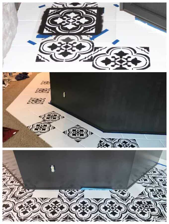 Stenciling makes a HUGE impact in updating old tile floors, but plan on it taking forever! Tutorial for how to paint tile floors using stencils.