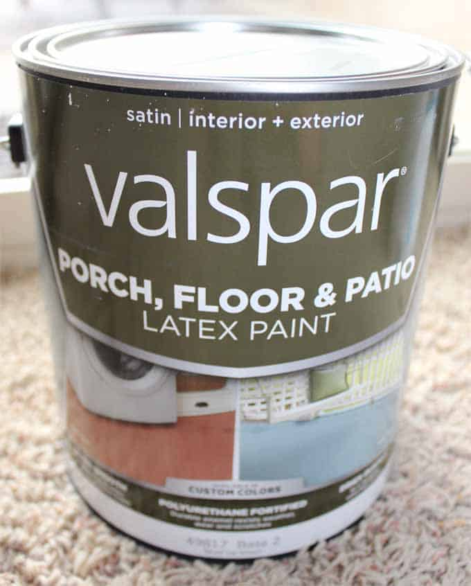 Valspar Porch, Floor and Patio paint was used as the base coat for my floor tile stencil project (in white).