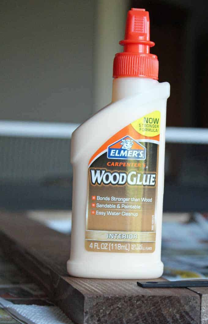 Wood glue was used to hold boards together for frame around bathroom mirror.