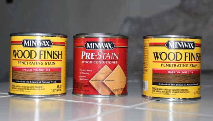 Special Walnut by Minwax, Prewood Conditioner, and Dark Walnut wood stain for rustic wood shelves.