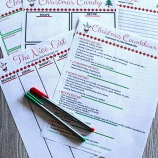 2018 Christmas Planner pages on rustic backdrop from Love our Real Life