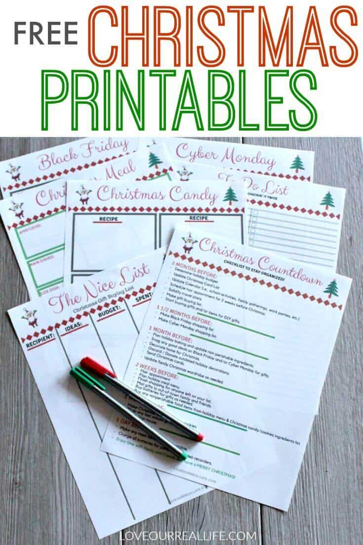 Free Christmas Printables for holiday organization.