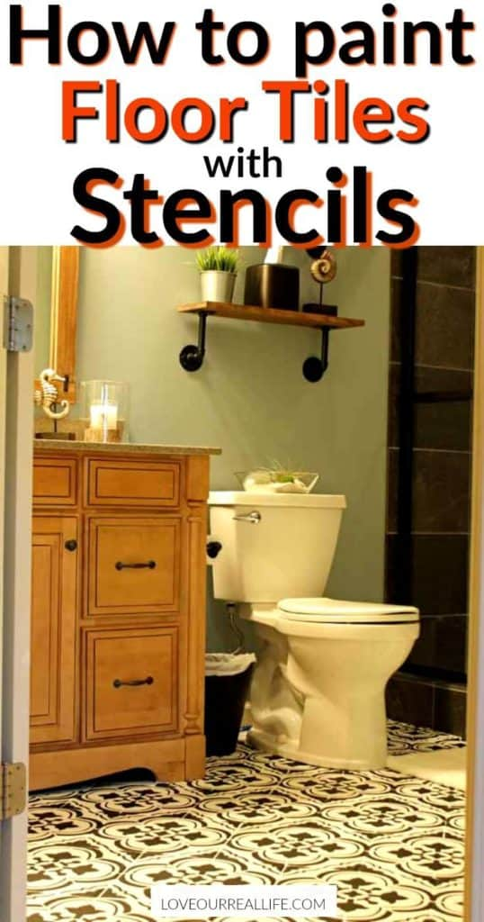 """bathroom with stenciled floors and DIY wood shelving with text overlay that reads """"how to paint tile floors with stencils"""""""