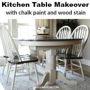 Chalk paint and dark walnut wood stain on kitchen table makeover
