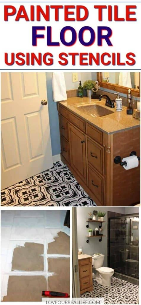 Painted tile floors using stencils