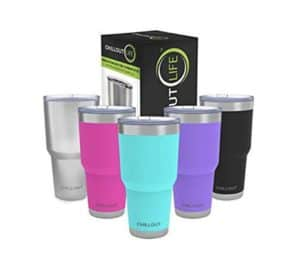 30 ounce tumblers in silver, pink, aqua, purple, and black