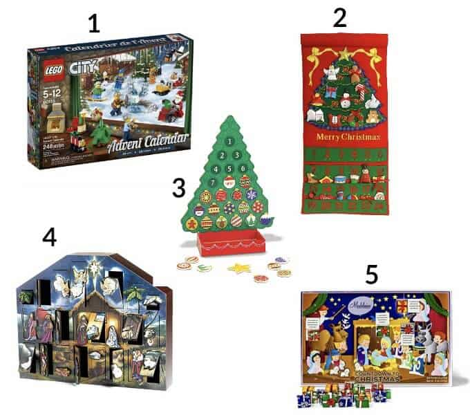 5 different Advent Calendars on white backdrop