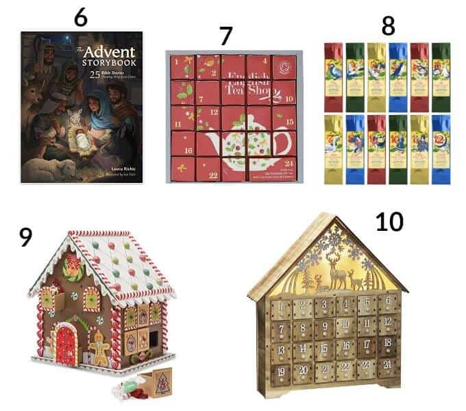 5 Advent Calendar options on white background