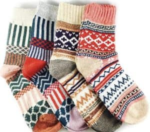 JOYCA & Co. 3-5 Pairs Womens Multicolor Warm Wool Cotton Thick Winter Crew Socks